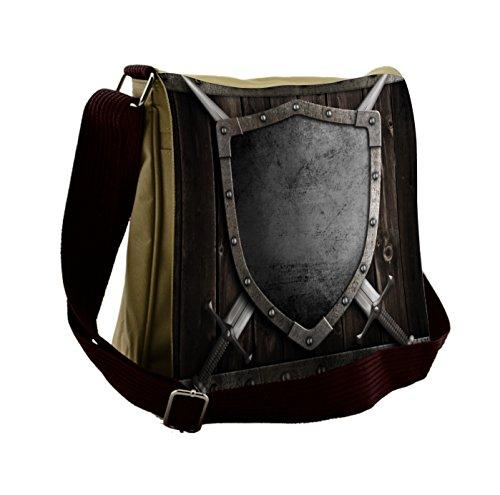 Lunarable Medieval Messenger Bag, Middle Ages Wooden Gate, Unisex Cross-body