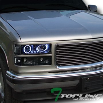 Topline Autopart Black Led Halo Projector Head Lights+Bumper+Corner Yd 1994-1999 C10 C/K Truck/Suv -