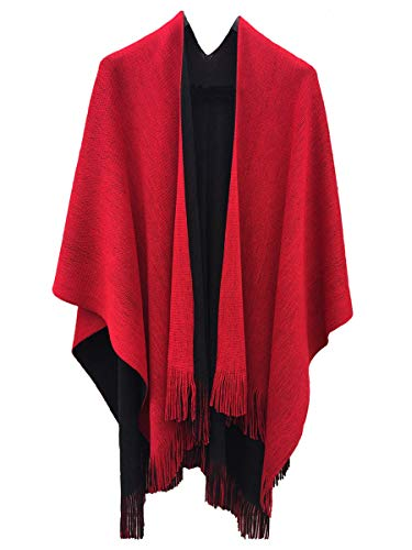 Knitted Blanket Wash - Ourlove Fashion Women's Knitted Open Poncho Cape Ladies Christmas Shawl/Blanket Long Wrap With Tassel (Black+Red)
