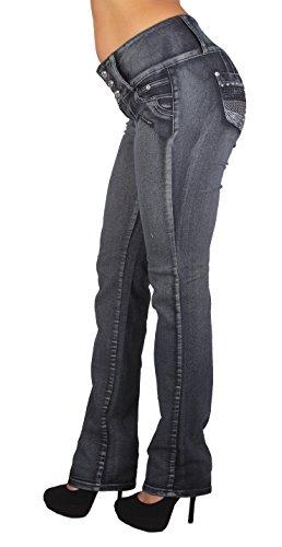 Diamante Style D700P – Plus Size High Waist Butt Lifting Stretch Boot Leg Jeans
