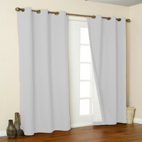 Weathermate Top Thermal Grommet - Thermalogic Weathermate Solid Insulated Grommet Top Curtain Panel/Pairs-White, 80 x 63