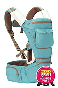 Kiddihug New Style Designer Quality Performance 4 in 1 Baby Carrier with Hip Seat and Hood. (Green/Blue)