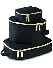 Itzy Ritzy Packing Cubes, Black with Gold Hardware, 3ct