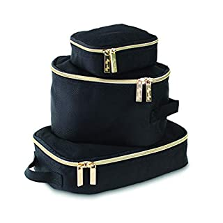 Itzy Ritzy Packing Cubes – Set of 3 Packing Cubes or Travel Organizers; Each Cube Features a Mesh Top, Double Zippers and a Fabric Handle; Black with Gold Hardware