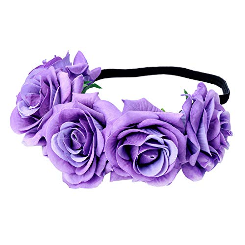 June Bloomy Rose Floral Crown Garland Flower Headband Headpiece for Wedding Festival (Velvet Purple) -