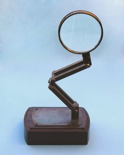 Solid Brass Adjustable Stand Magnifier on Hardwood Base
