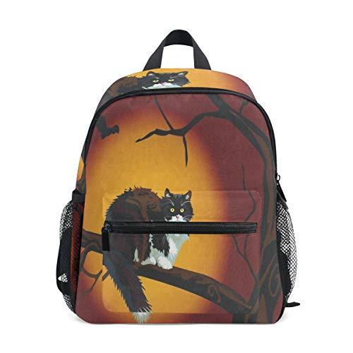Mini Backpack Black Cat On Halloween Night School Bag Daypack Lightweight -