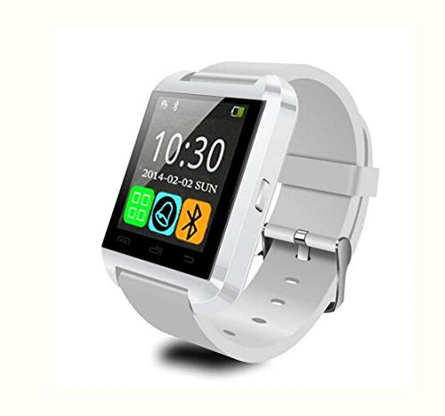 LEMFO Bluetooth Smart Watch WristWatch U8 UWatch Fit for Smartphones IOS Apple iphone 44S55C5S Android Samsung S2S3S4Note 2Note 3 HTC Sony Blackberry (White)