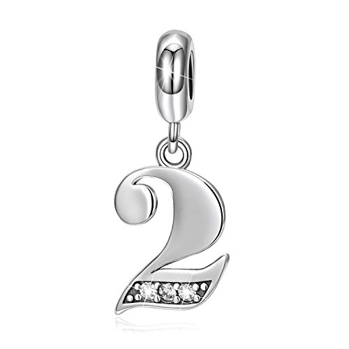 LONAGO Lucky Number 0-9 Charms 925 Sterling Silver Number Bead (Number 2)