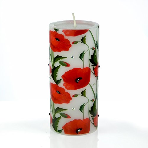 Flower Candle Art - Poppy with Green leaves Flower Ornament with Rhinestones from Sam & Wishbone Flower and Candle Collection (3''x6'') by Sam & Wishbone
