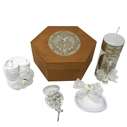 Catholic Baptism Kit in a Wooden Box with Towel, Candle, Rosary and Shell for Baby Boys and Girls. Handmade in Mexico Gift for Godparents. Holy Spirit Baptism Candle Set. Kit - Set Christening