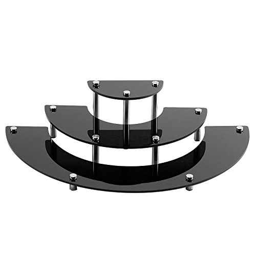 3 Tier Black Acrylic Semicircle Dessert Cupcake Display Stand Rack -