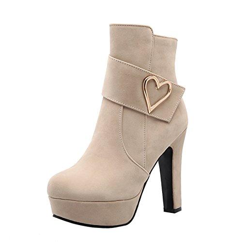 YE Damen Plateau Ankle Boots Blockabsatz Stiefeletten High