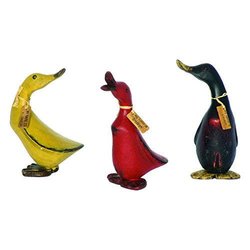 Homestyles Wooden Vintage Hand Crafted 8'h Baby Duck 3 Piece Bamboo Root Figurine Set with Whimsical Name Tags (Red-Blk-Yellow) (Hand Carved Wood Figurines)