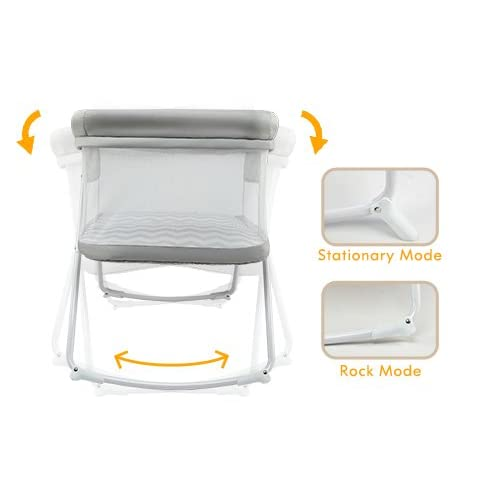 2in1 Rock&Stay Bassinet One-Second Fold Travel Crib Portable Newborn Baby,Gray