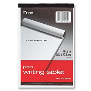 Mead Plain Writing Tablet, 6 x 9 Inches, 100 Sheets (70104)