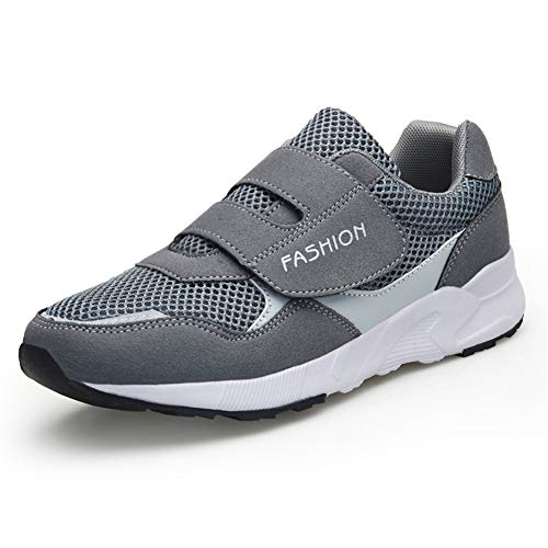 Velcro Sneaker - Leader Show Women's Elderly Casual Comfort Walking Shoe Safety Flats Non-Slip Hook & Loop Sneakers (9, Gray)