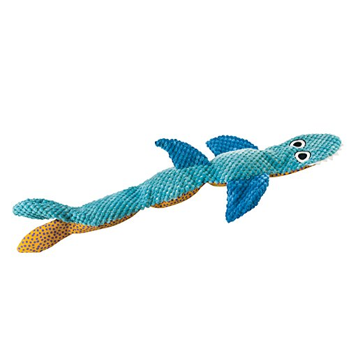 Stuffing Free Squeaking Plush Dog Toy, Stuffing Free Floppy Shark by Petstages