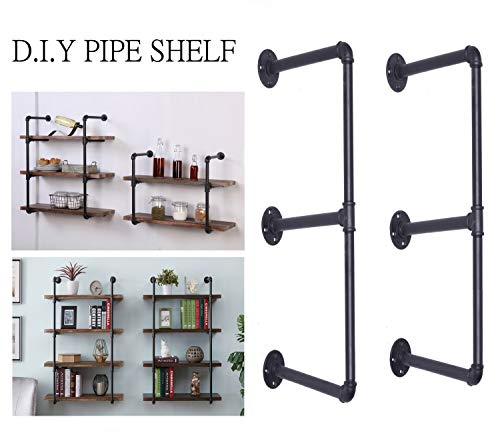 (Diwhy DIY Industrial Black Pipe Bookshelf Wall Ceiling Mounted Open Bookshelf Parts Bracket Kit DIY Project (2 pcs 3 Tier Pipe Shelf))