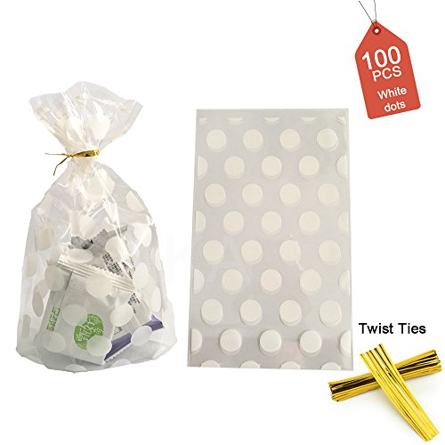 100 Pack Clear Cello Bags Candy Cookie Bags 4.5 x 6.5 x 2inch Clear Plastic Treat Bags White Polka Dot Candy Bags Cookie Candy Snack Wrapping Party Favor Gold Twist Ties ()