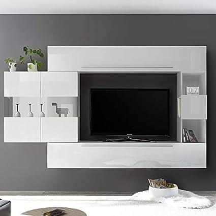 Nouvomeuble Ensemble Meuble Tv Design Blanc Laque Alcamo Amazon Fr Cuisine Maison
