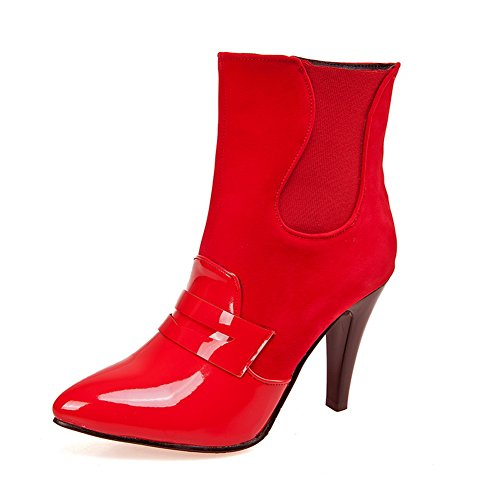 AdeeSu Ladies Winkle Pinker Stiletto Color Matching Thick Bottom Heel Patent Leather Boots Red Xl1egSEt2K