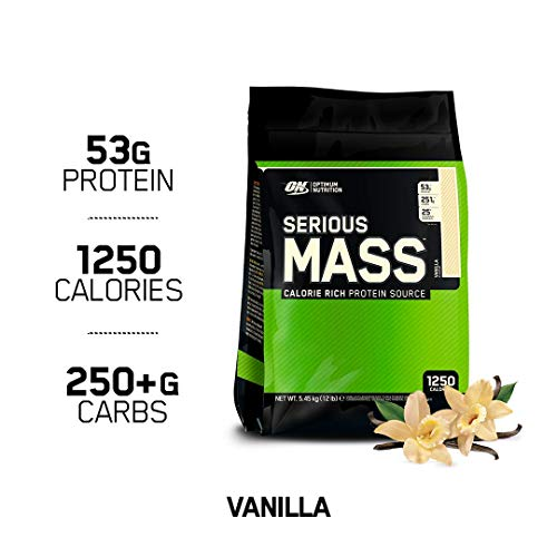 (OPTIMUM NUTRITION Serious Mass Weight Gainer Protein Powder, Vanilla, 12 Pound)