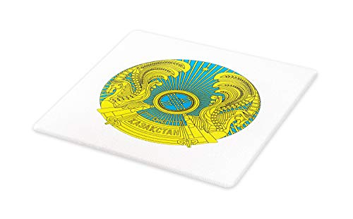 - Lunarable Kazakhstan Cutting Board, Kazakh National Coat of Arms Seal Sign Medallion Illustration, Decorative Tempered Glass Cutting and Serving Board, Small Size, Sky Blue and Yellow