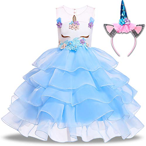 Girls Unicorn Dress Kids Princess Tutu Costume Flowers Unicorn with Headband Sleeveless Pageant Cosplay Birthday Party (7-8 Years(Tag 140), A- Sky Blue)