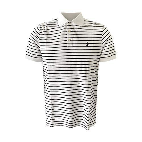 Polo Ralph Lauren Men's Classic Fit Mesh Polo Shirt (Classic White/Black Stripes, L)