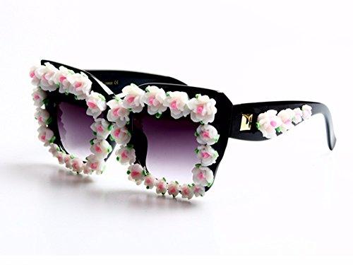 gafas Barroco gafas las damas white sol Gafas playa lujo mujer verano de de rojo de para Flor TL Sunglasses roja Estilo qU68zz