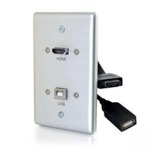 C2G HDMI/USB Pass Through Single Gang Electrical Distribution Wall Plate Brushed Aluminum (39874)