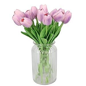 Duovlo 18 Heads Artificial Mini Tulips Real Touch Wedding Flowers Arrangement Bouquet Home Room Centerpiece Decor (Light Purple) 3