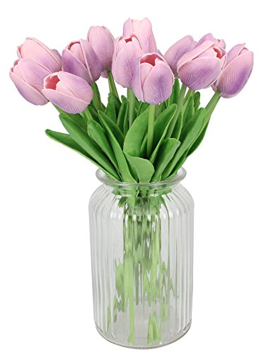 Duovlo-18-Heads-Artificial-Mini-Tulips-Real-Touch-Wedding-Flowers-Arrangement-Bouquet-Home-Room-Centerpiece-Decor-Light-Purple