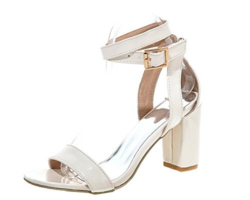 Women's White Toe Pu Sandals WeiPoot Buckle Solid Open Heels High Pzxdw6q