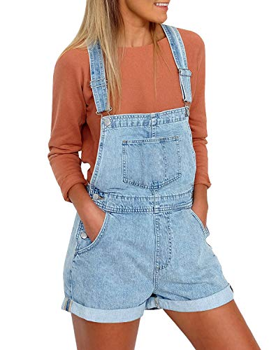 (Vetinee Women's Light Blue Classic Adjustable Straps Cuffed Hem Denim Bib Overall Shorts Small)