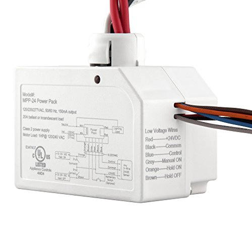Enerlites MPP-24 Ceiling Sensor Low Voltage Power Pack for Low Voltage Sensor and Package, Self Contained Power Supply Relay System 120~277V AC to 24V DC, White