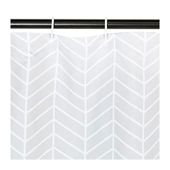AmazonBasics Grey Herringbone Shower Curtain - 72 Inch - Stylish shower curtain with printed pattern Eye-catching print adds a distinctive look to your bathroom Built-in ring holes make installation easy (rings not included) - shower-curtains, bathroom-linens, bathroom - 41WzqPEkzPL. SS570  -