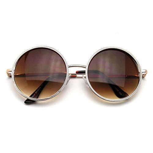 (Gold Designer Round Metal Fashion Vintage Inspired Circle Sunglasses)