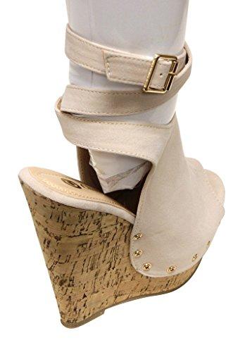 stud toe Womens amp; peep platform wedge Chloe 1 crossing cork strap Nude Hazel suede sandas ankel Chase wvxUcqB8U