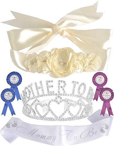 DORADREAMDEKO Mother to Be Tiara/Crown Sash Baby Shower+ Maternity Flower Belly Belt Cream + Mommy to Be Sash and Pin +Gender Reveal Party, Silver Baby Shower Sash Party Decorations (Daddy To Be Corsage)