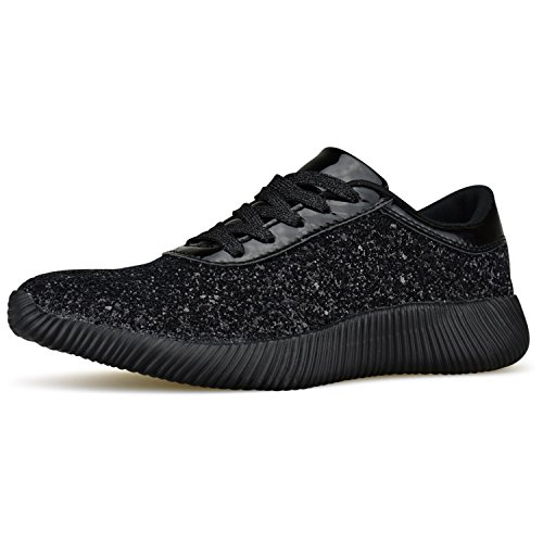 On Sparkle Casual Street Lace Sneaker Running up Shoes Black Womens Fashion Slip Metallic Platform Wedge Glitter R74wwqvU8