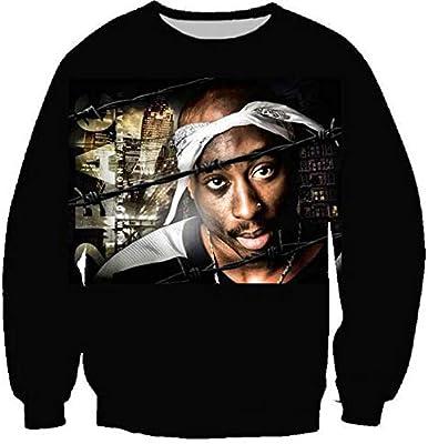 MOIMK Unisex Vida Rap Hip-Hop 2Pac Artista Tupac Rap Sudaderas con Capucha 3D impresión Ropa Sudadera Pullover