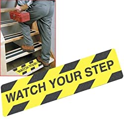 Black/Yellow Non-Slip Watch Your Step Warning Stair Tread, 80 Grit Anti-Skid Texture. Commercial Grade. 6in x 24in (Watch Your Step)