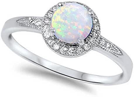 Lab Created White Opal & Cz .925 Sterling Silver Ring sizes 4-12