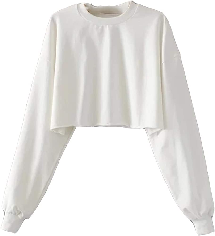 HABIT-The Perfect Spring Pastels Frayed Crop Long Sleeve Oversized Teen Girls Cute Sweatshirt Pullover Tops Blouse for Girls and Women/'s White