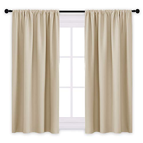 PONY DANCE Beige Kitchen Curtains - Window Treatments Rod Pocket Energy Efficient Blackout Curtain Panels Room Darkening Home Decor for Kids'Room, 42-inch Wide by 45-inch Long, 2 ()