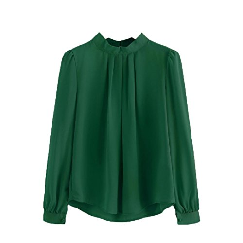 Velour V-neck Shirt - Women Blouse,IEason Women Summer Fold Loose Casual Chiffon Long Sleeve Shirt Tops Blouse (XL, Green)