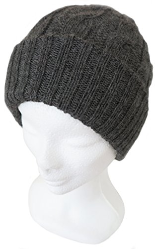 CUSTOM MADE IN ANY COLOR - PURE ALPACA Cable Design Beret Hat - Charcoal
