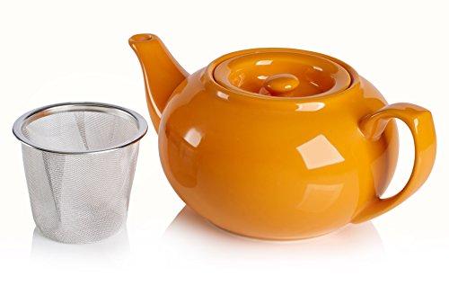 Adagio Teas PersonaliTea Ceramic Teapot with Infuser Basket, 24-Ounce, Orange